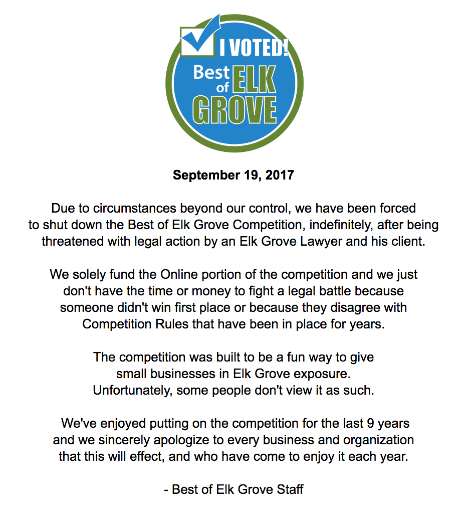 Best of Elk Grove Ends Future Competitions Due To Threat of Lawsuit